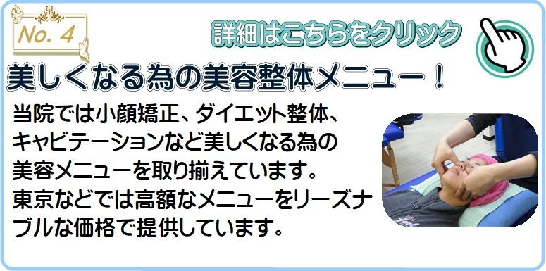美しくなる為の美容整体メニュー!当院では小顔矯正、ダイエット整体、 キャビテーションなど美しくなる為の 美容メニューを取り揃えています。 東京などでは高額なメニューをリーズナブルな価格で提供しています。